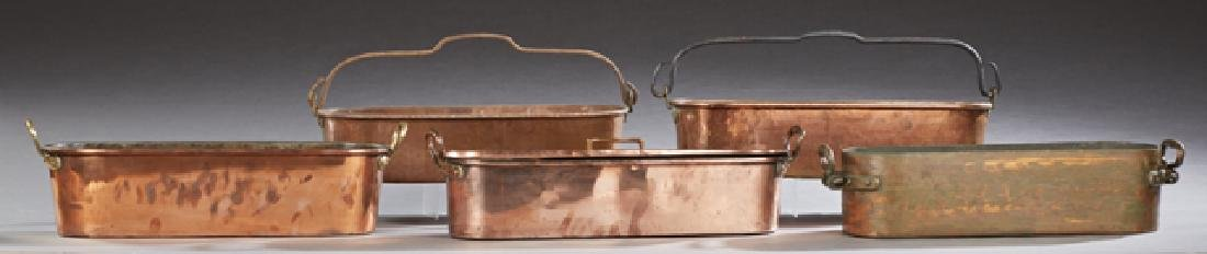 Five French Copper Fish Poaching Pans, 19th c., one