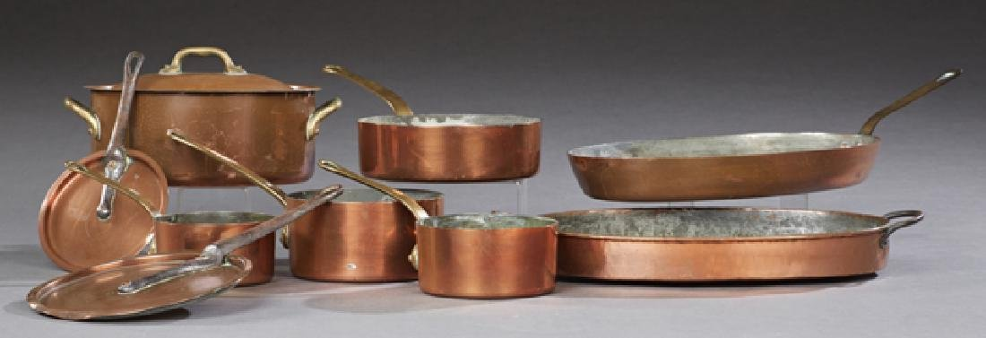 Group of Nine Pieces of French Copper Cookware, 20th