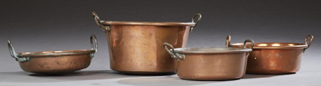 Four Large French Copper Open Cauldrons, late 19th c.,