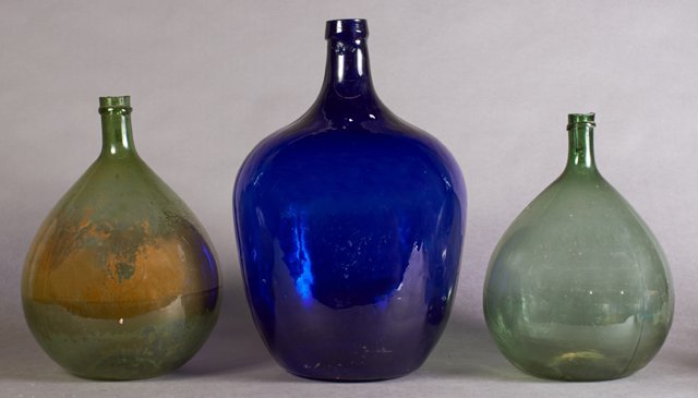 Group of Three French Mold Blown Glass Wine Carboys,