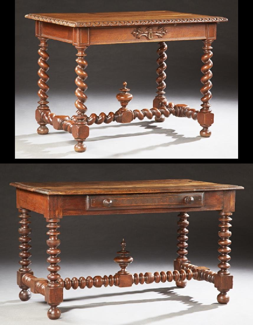 Two French Louis XIII Style Carved Oak Writing Tables,