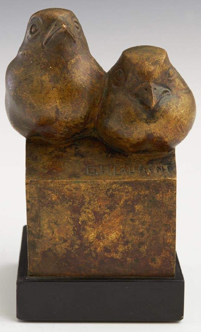 """Georges H. Laurent (1940- , French), """"Two Birds,"""" gilt"""