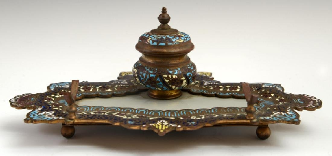 French Champleve Bronze and Onyx Inkstand, 19th c.,