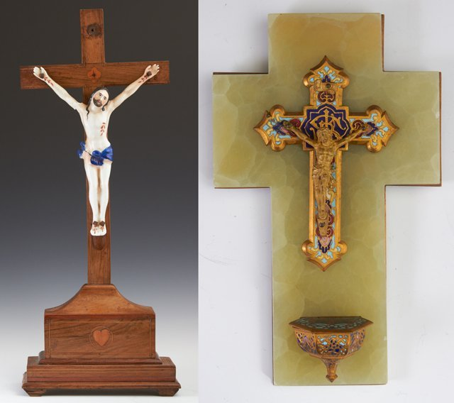 Two French Crucifixes, late 19th c., one an inlaid