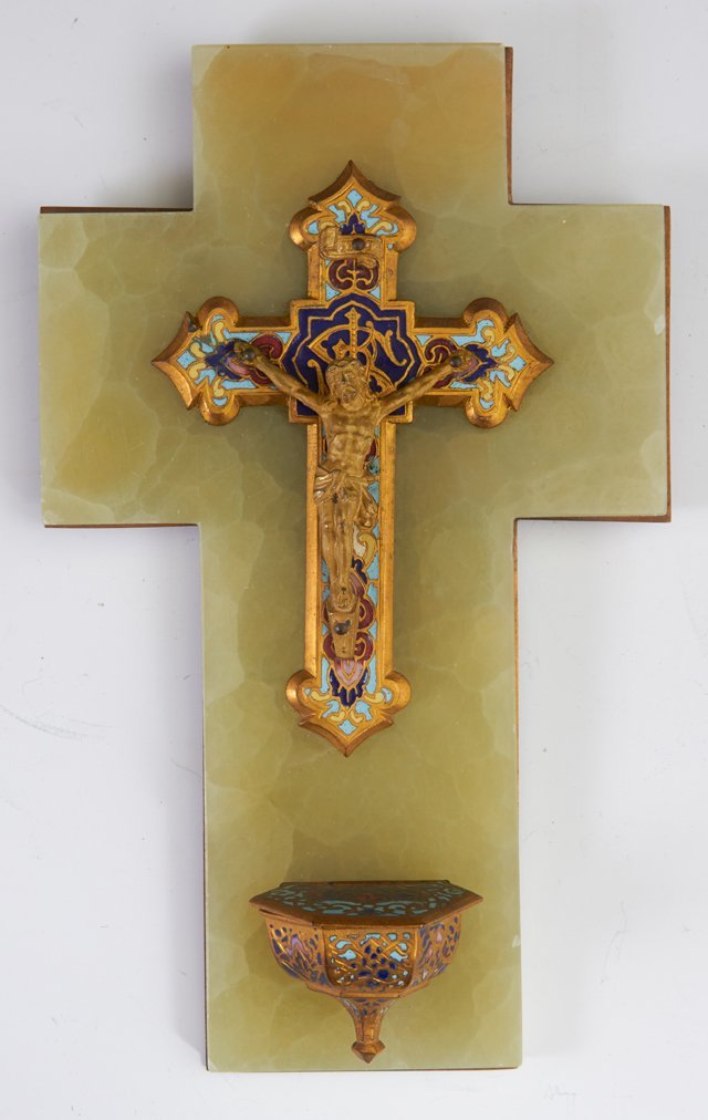 Two French Crucifixes, late 19th c., one an inlaid - 3