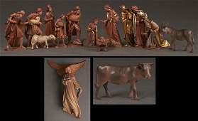 Fifteen Piece Italian Carved Wood Nativity Scene, 20th