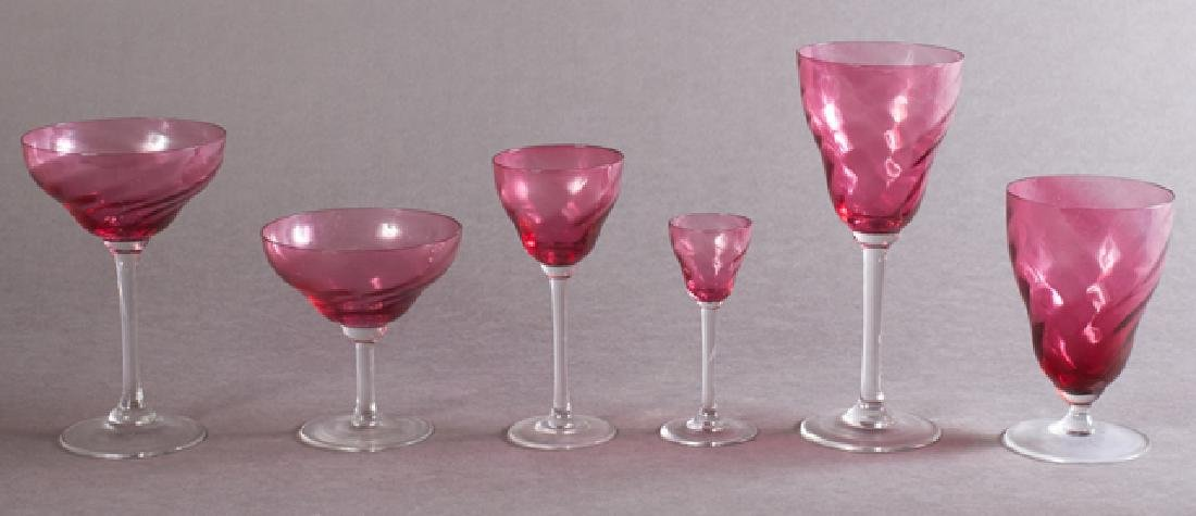 Sixty-Seven Piece Set of Swirled Cranberry and Clear
