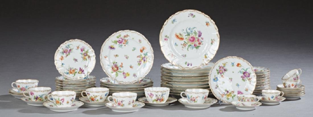 Fifty-Eight Piece Dresden Porcelain Dinner Service,