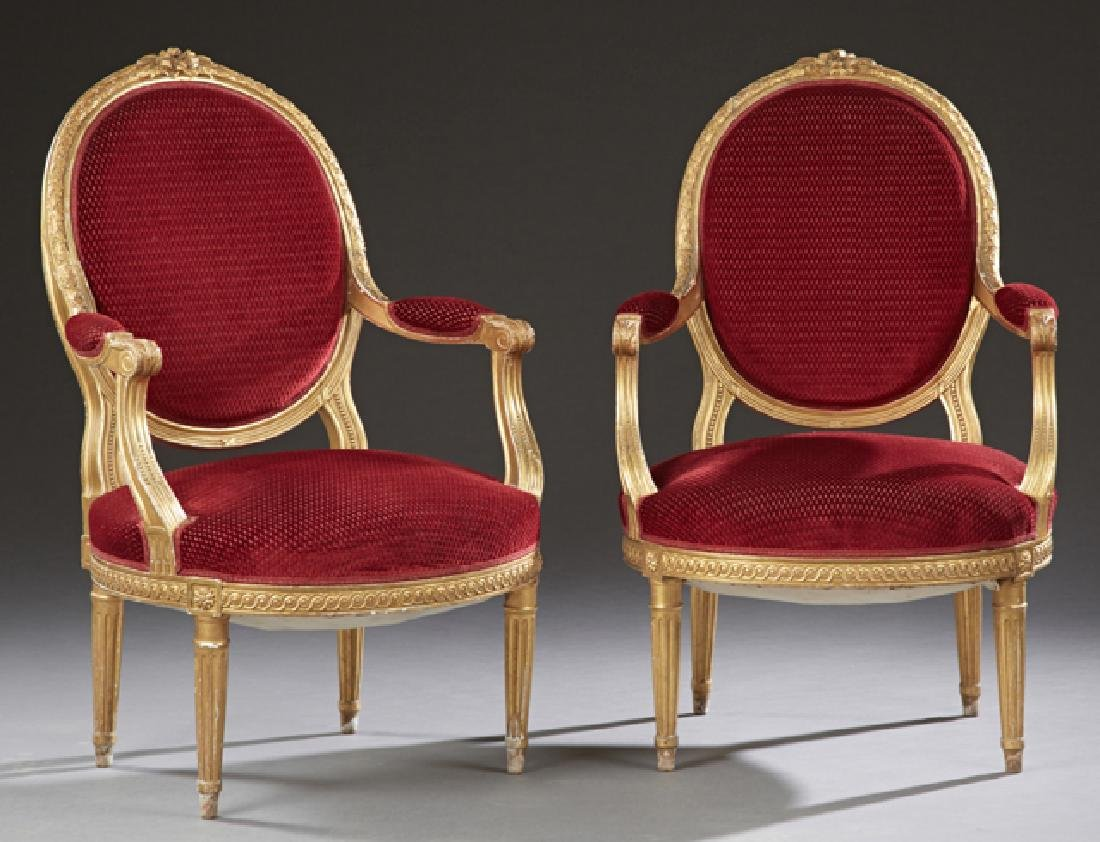 Pair of French Louis XVI Style Gilt Fauteuils, 19th c.,