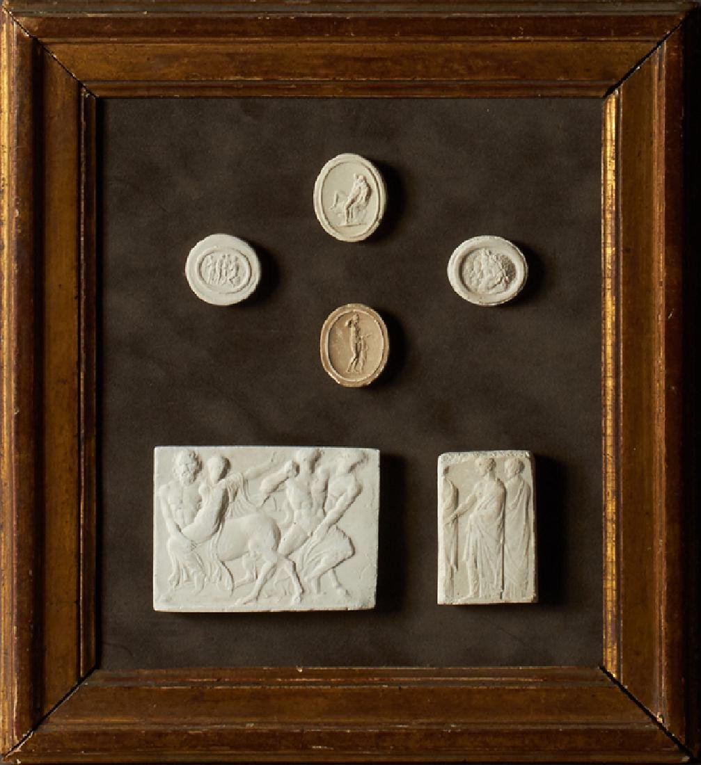 Group of Six Plaster Intaglios, 19th c., Grand Tour