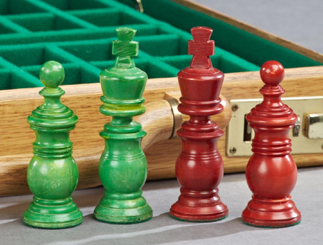 Anglo-French Style Carved Bone Traveling Chess Set, - 5