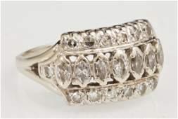 Lady's 18K White Gold Diamond Dinner Ring, mid 20th c.,