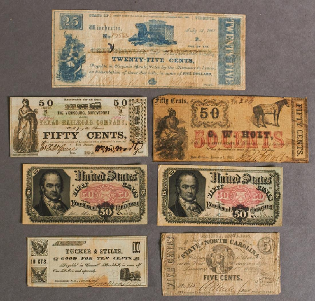 Group of Seven Pieces of Fractional Currency,
