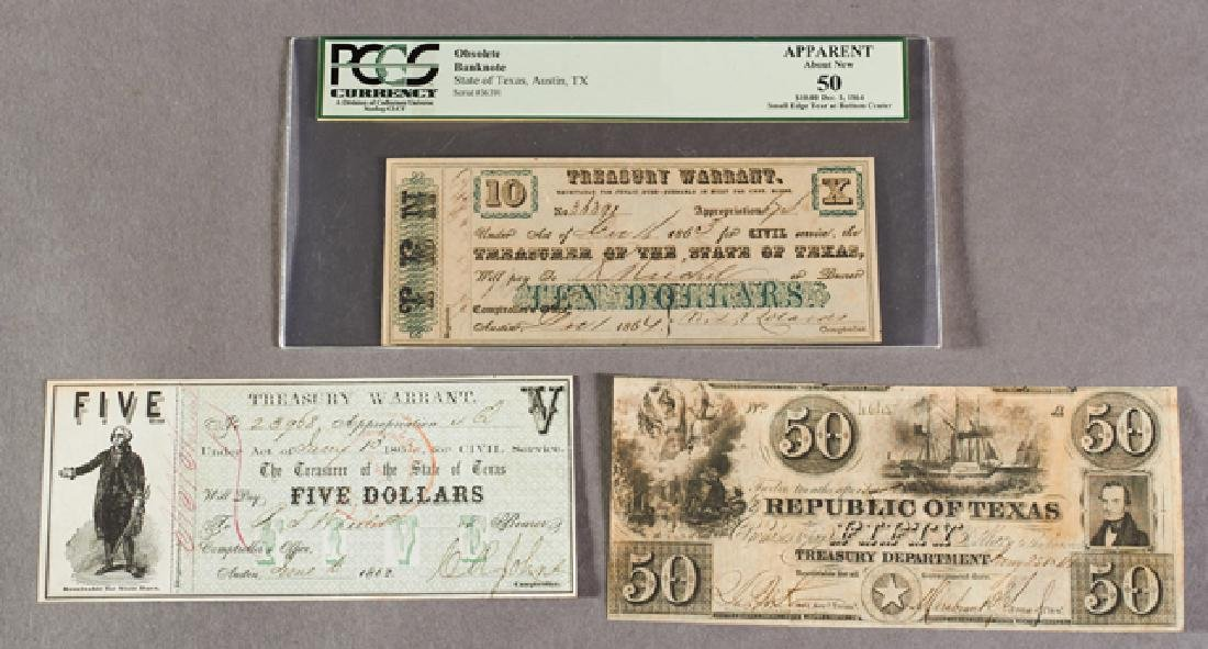 Group of Three Texas Treasury Notes, consisting of an