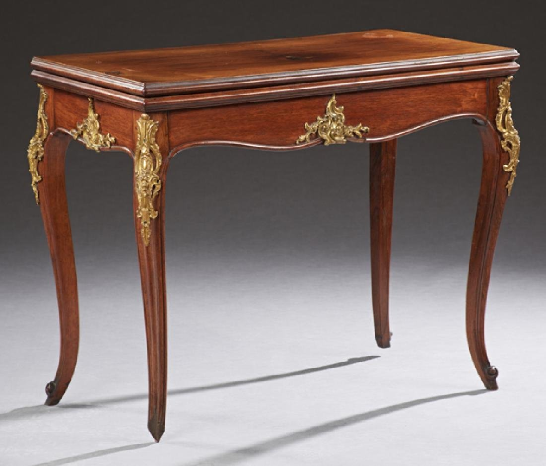 French Louis XV Style Carved Mahogany Ormolu Mounted