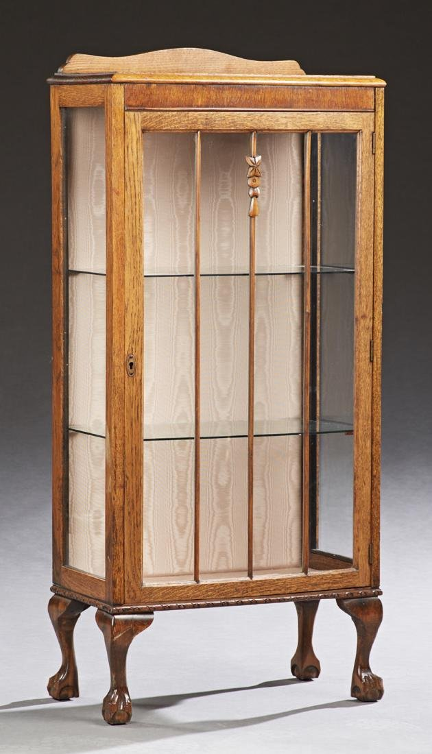English Carved Curio Cabinet, early 20th c., the