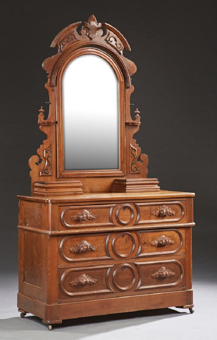 American Victorian Carved Walnut Dresser, c. 1880, the
