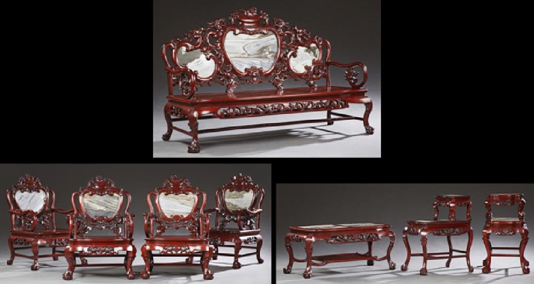 Chinese Carved Hardwood Marble Inset Eight Piece Parlor