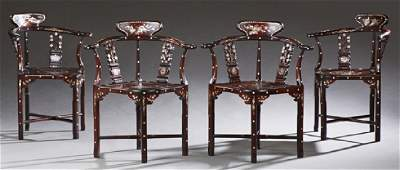 Set of Four Chinese Mother of Pearl Inlaid Rosewood