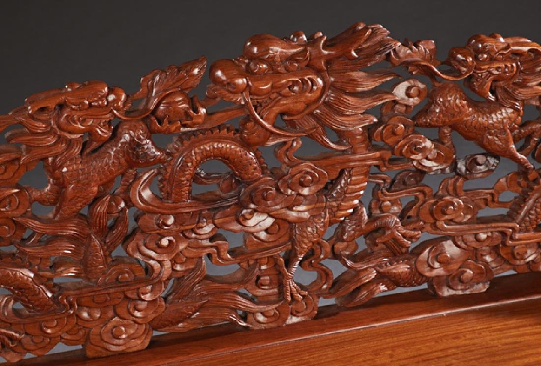 Chinese Carved Mahogany Bench, 20th c., the pierced - 2