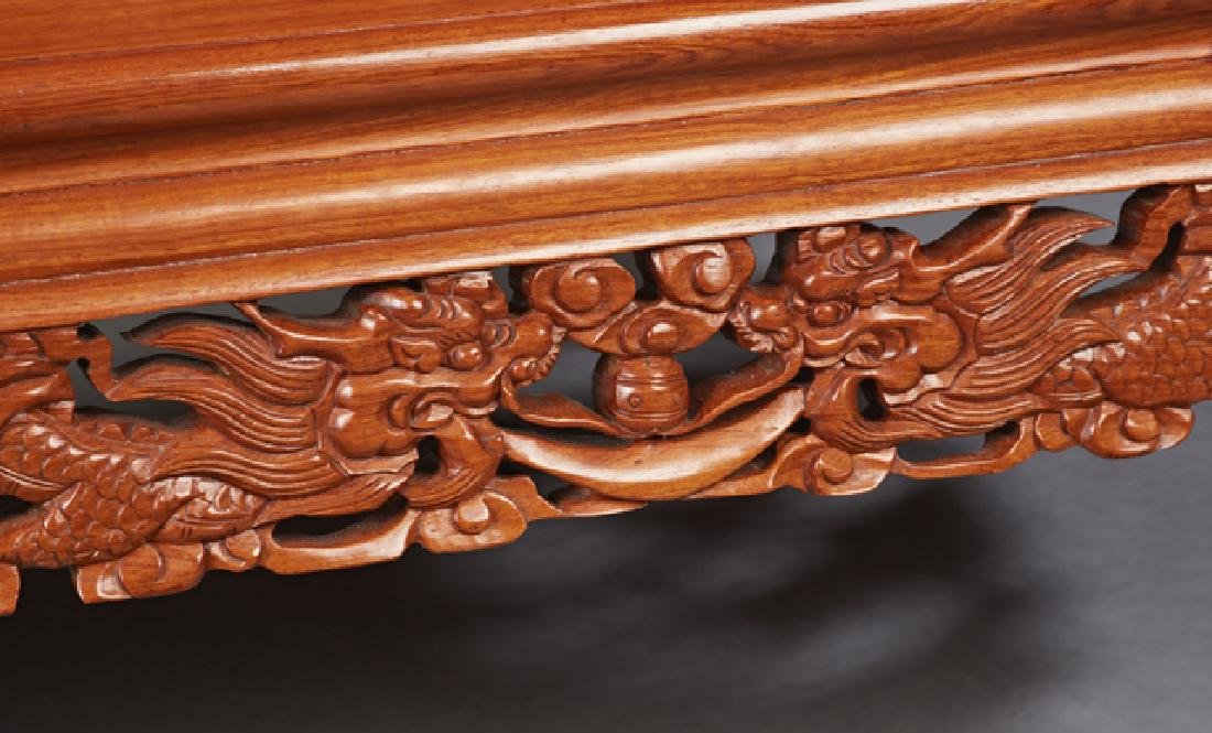 Chinese Carved Mahogany Bench, 20th c., the pierced - 3