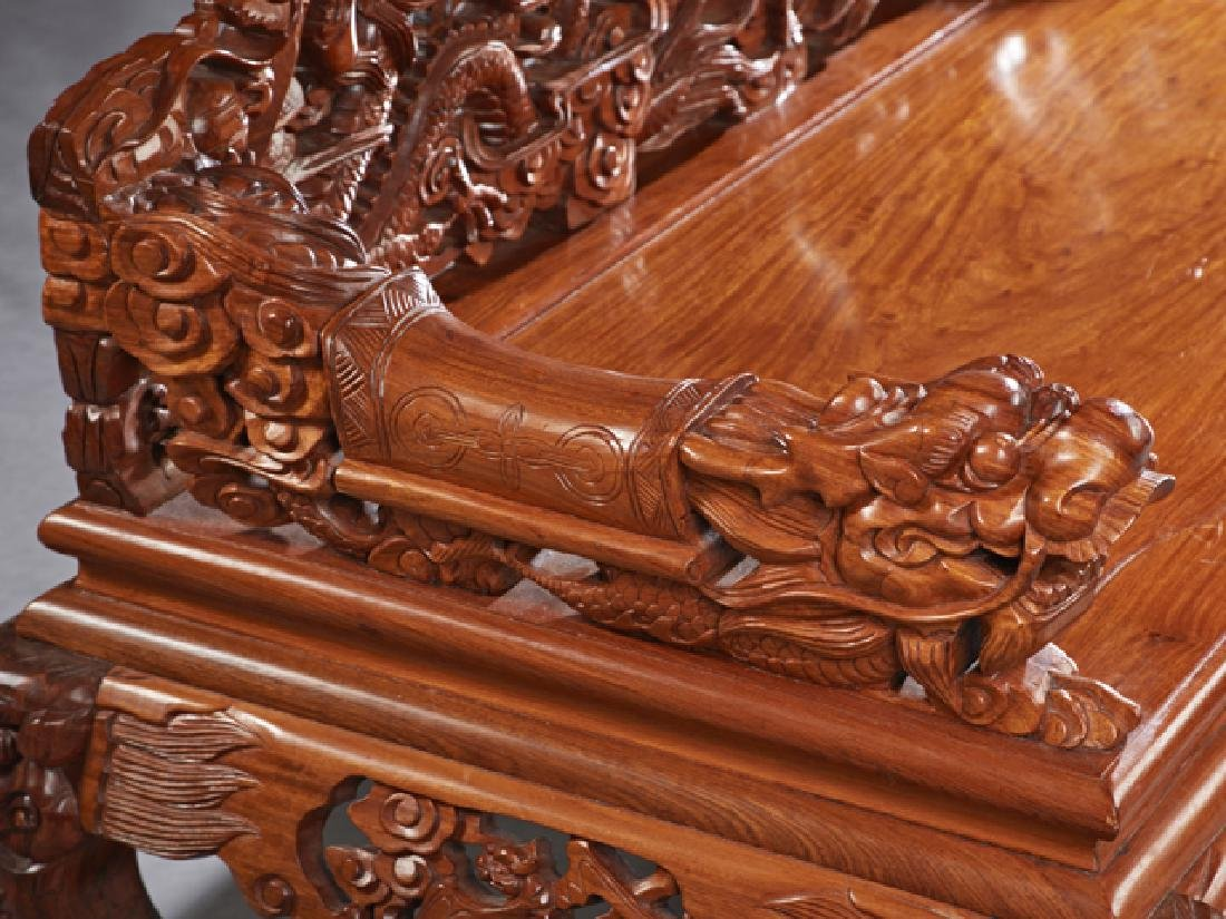 Chinese Carved Mahogany Bench, 20th c., the pierced - 4