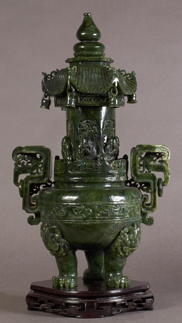 Large Chinese Dark Green Jade Covered Baluster Vase,