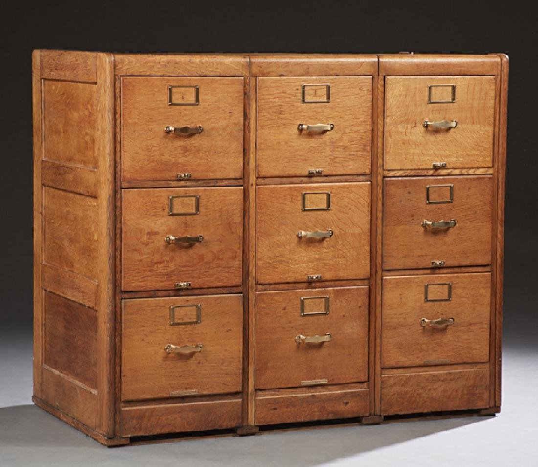 American Carved Oak Filing Cabinet, early 20th c., with