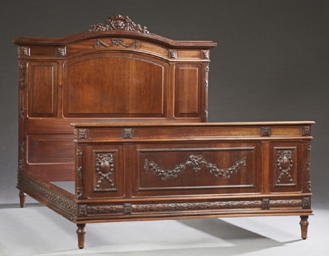 French Louis XVI Style Carved Mahogany Double Bed, 20th