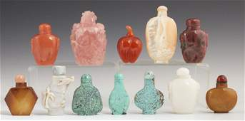 Group of Twelve Chinese Carved Snuff Bottles, 20th c.,