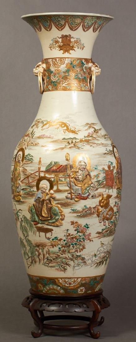 Large Japanese Satsuma Pottery Baluster Vase, 20th c.,
