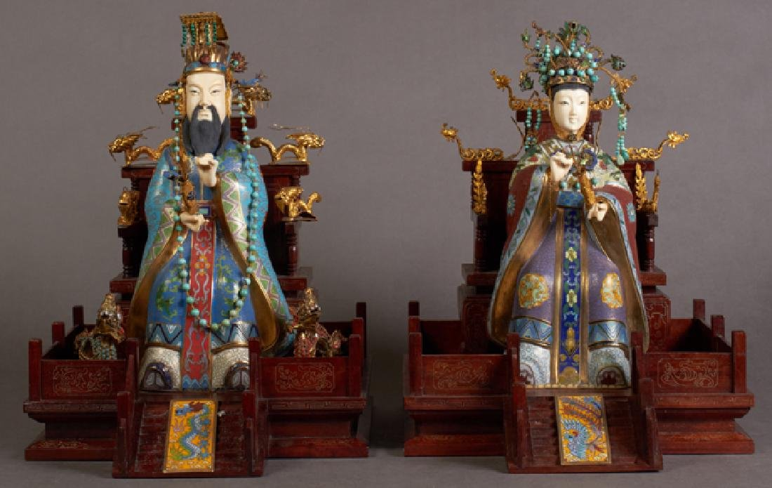Pair of Chinese Cloisonne Emperor and Empress Figures.