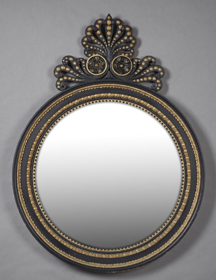 Gilt and Gesso Ebonized Circular Mirror, c. 1880, with