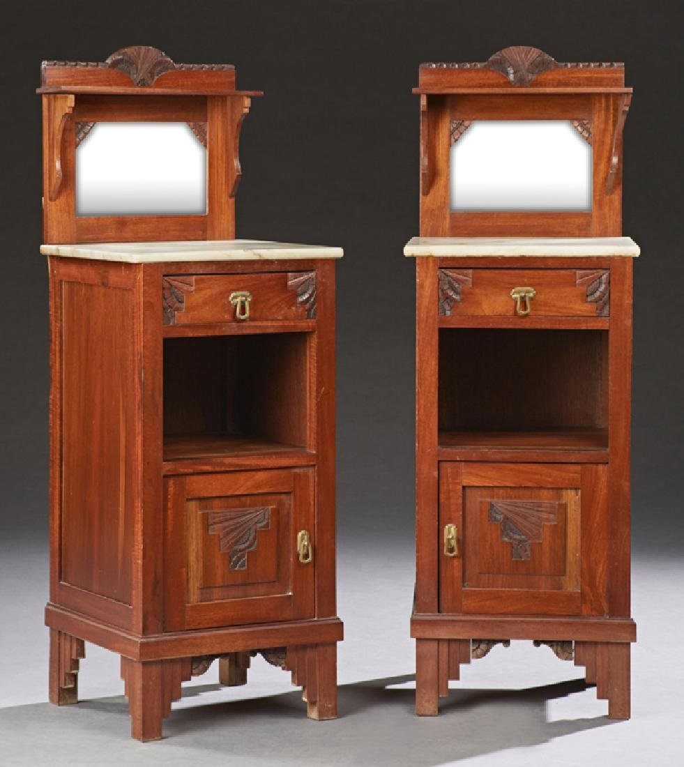 Pair of Continental Art Deco Carved Mahogany Marble Top