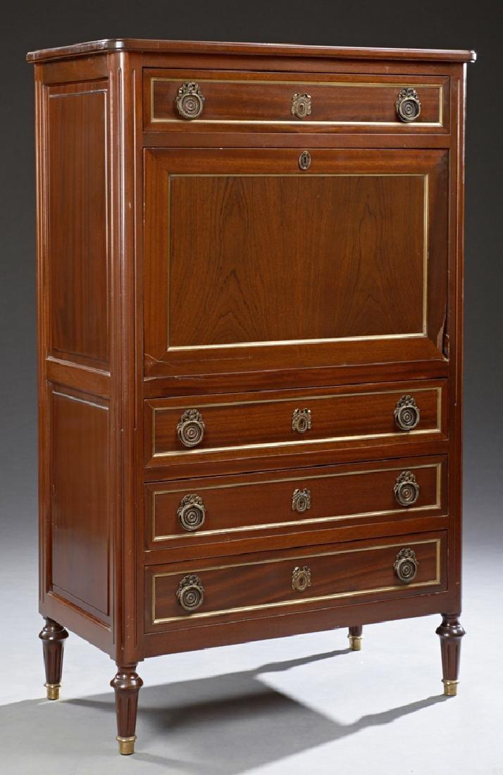 Louis XVI Style Carved Mahogany Secretaire Abattant,