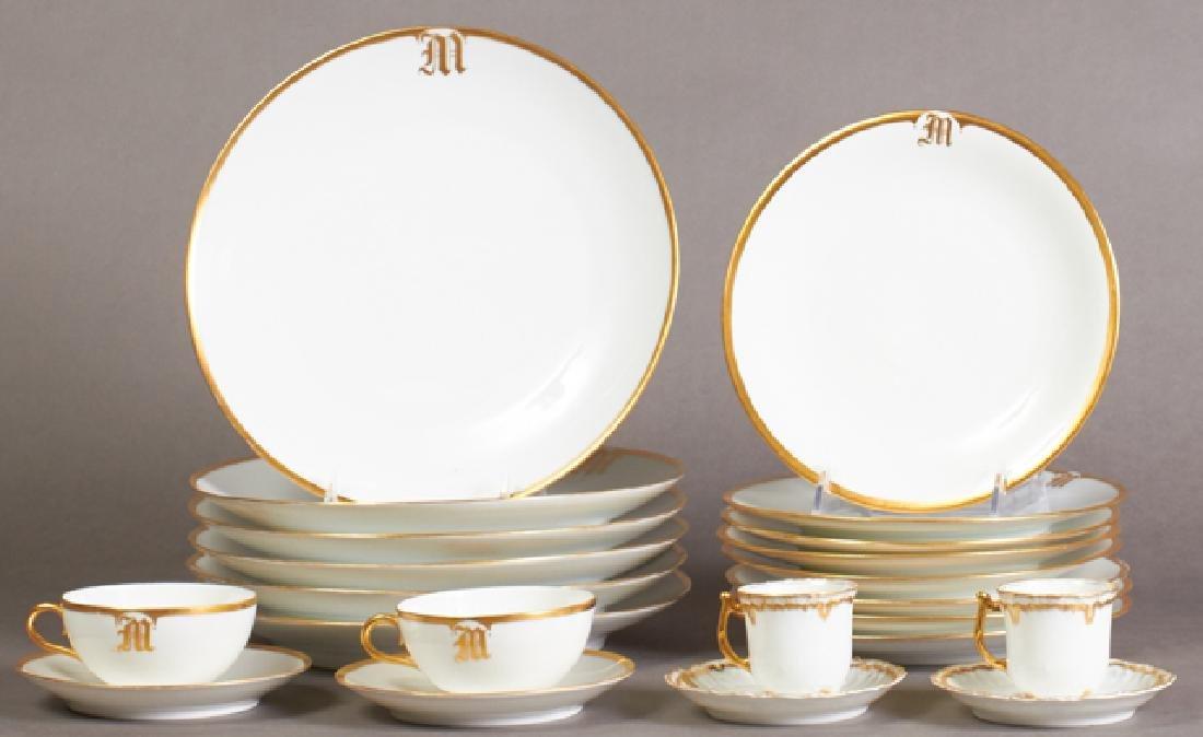 Fifty-Nine Pieces of Gilt Rimmed Porcelain Limoges