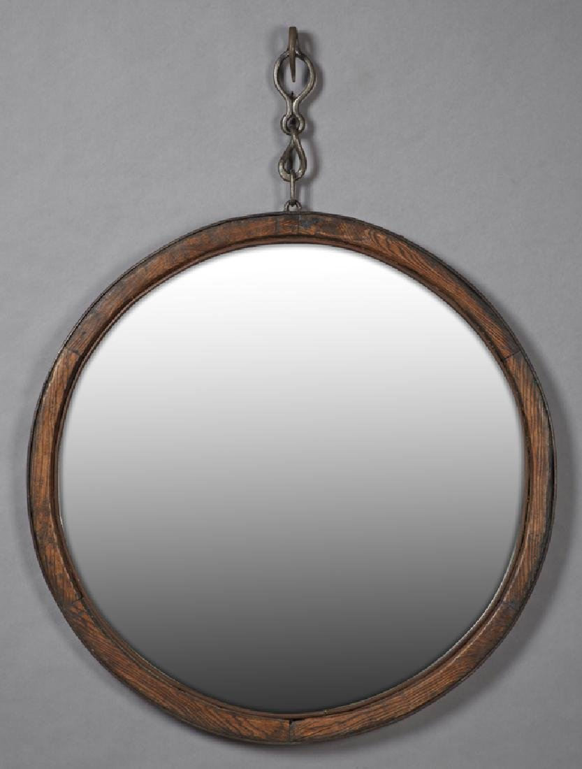 French Provincial Carved Oak Circular Mirror, 19th c.,