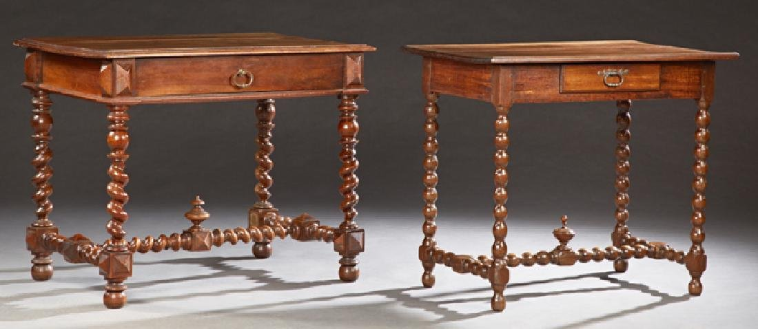Two French Louis XIII Style Carved Walnut Writing
