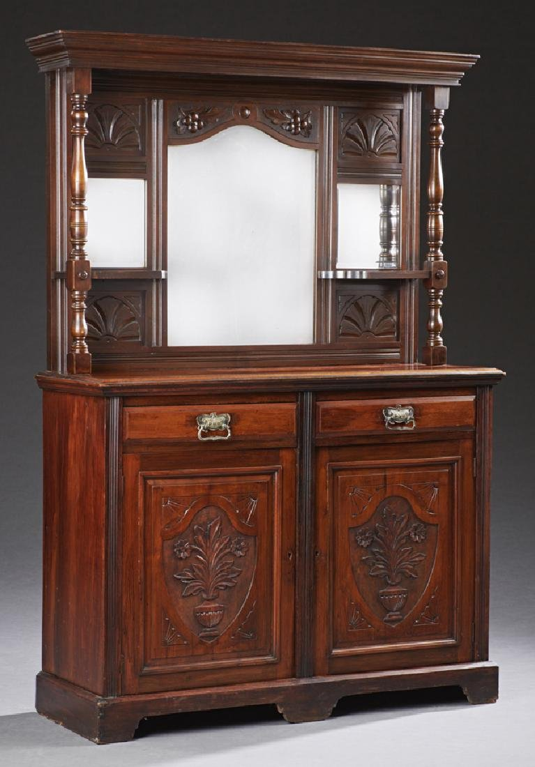 English Carved Mahogany Sideboard, c. 1890 the ogee