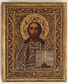 Russian Icon of Christ c 19081917 with a gilt