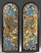 Pair of Large American Arched Leaded Slag Glass
