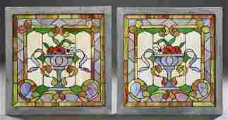 Pair of American Style Stained Leaded Slag Glass