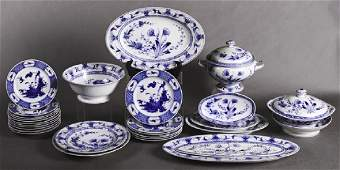 Fifty-Nine Pieces of French Limoges Blue and White
