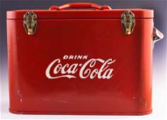 CocaCola Metal Airline Cooler c 1950 one side