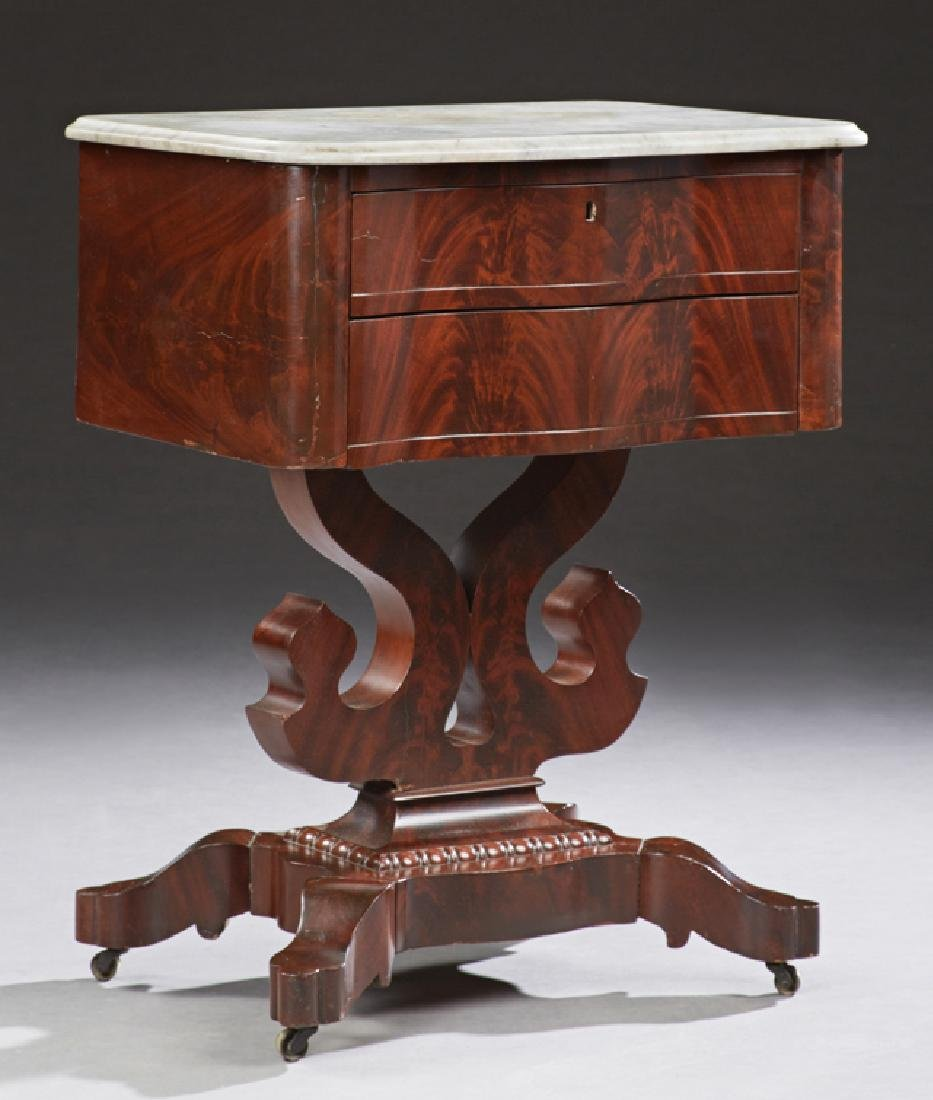 American Late Classical Carved Mahogany Marble Top