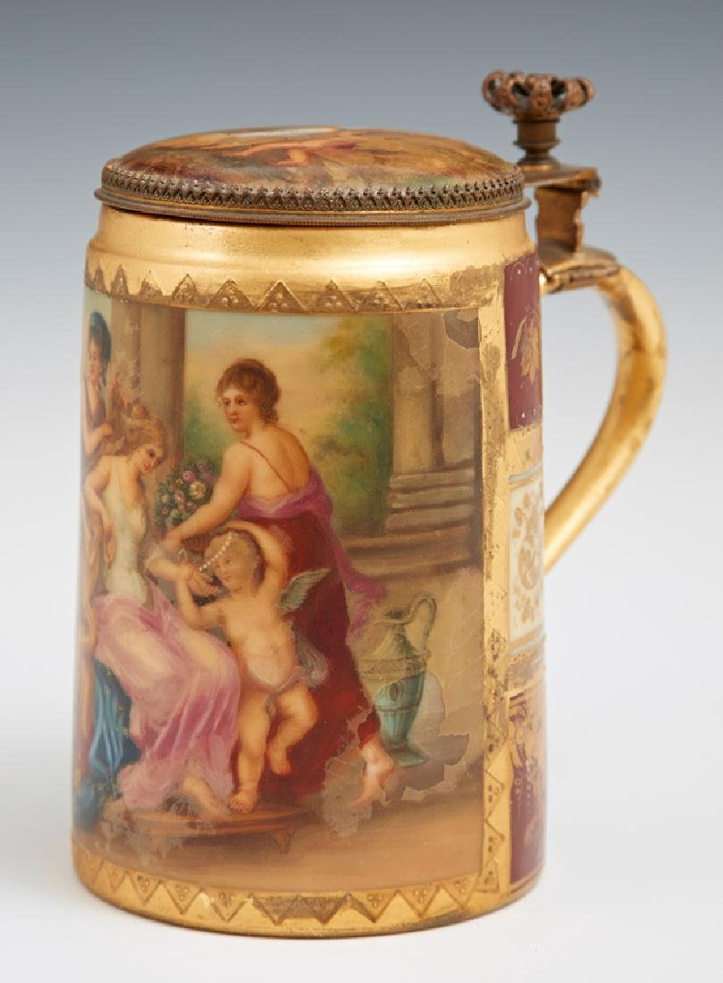 Royal Vienna Style Hand Painted Covered Stein,