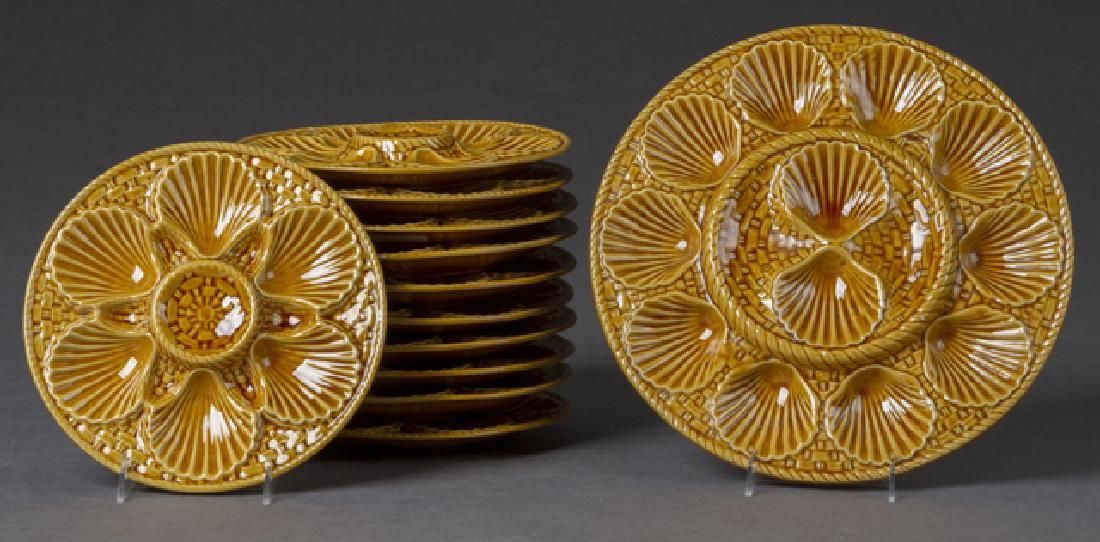 Ceramic Twelve Piece Oyster Set, 19th c.,