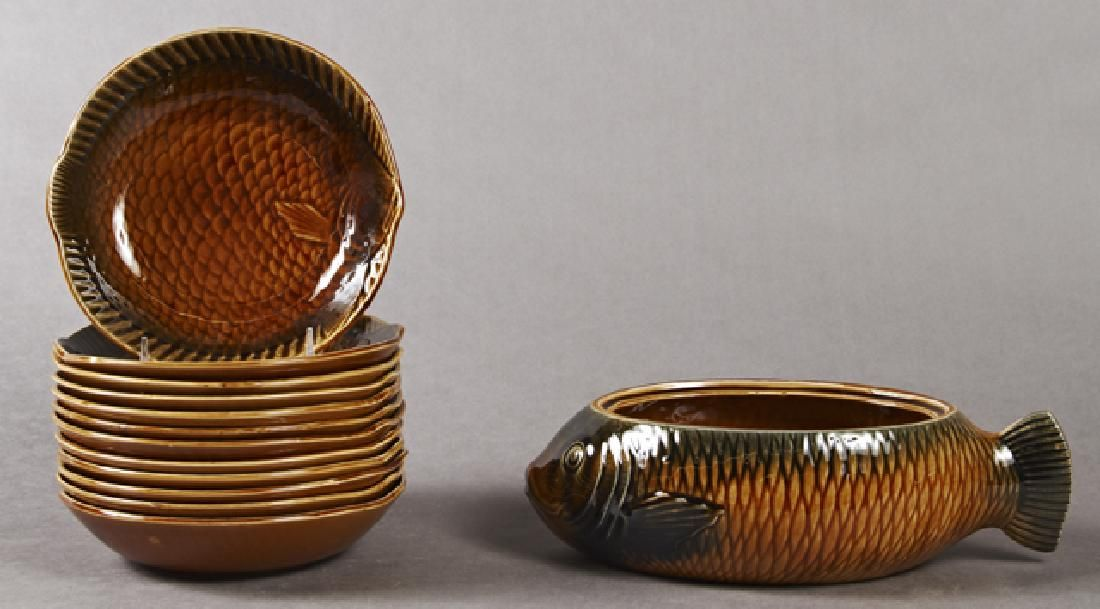Thirteen Piece French Ceramic Bouilla Base Set,