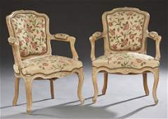 Pair of French Polychromed Beech Louis XV Style