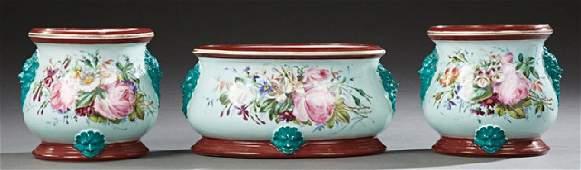 Three Piece French Porcelain Mantle Garniture,
